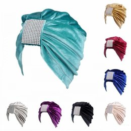 $enCountryForm.capitalKeyWord NZ - Fashion Colorful Chemo Hat For Adults Women Velvet Ruffle Turban With Square Rhinestone Indian Cap New Arrival