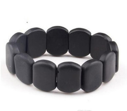 bracelets 14mm UK - Wholesale - Natural BIAN Stone Bracelet Black 10-14mm Beads bian beaded Bracelets Women & Men Health stone Treatment to improve disease