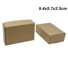 Recycled Paper Gifts NZ - 9.4x5.7x2.5cm 50PCS Brown Craft Paper Birthday Gifts Boxes for Candy Cake Handmade Soap Storage Boxes Kraft Paper Pack Box for Jewelry Pearl