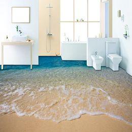 Modern hoMe wallpaper online shopping - Custom D Beach Sea Water Living Room Bedroom Bathroom Floor Mural Paintings Self adhesive Vinyl Wallpaper Home Decor De Parede