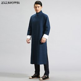 efb607b37a Men Traditional Chinese Linen Trench Coat Mandarin Collar Long Sleeves Mens Long  Robes Frog Closures Side Slit Kung Fu Costumes