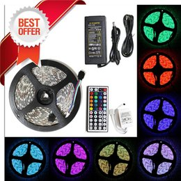 Discount ce power strip - Cheap 5050 SMD RGB 300 LED Strip Light Flexible 5M 60led m Waterproof IP65 led strips with IR Remote Control +12V 5A pow