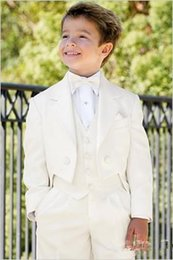 pink tailcoat tuxedos NZ - High Quality Ivory Tailcoat Notch Lapel Boy's Formal Wear Occasion Kids Tuxedos Wedding Party Suits (Jacket+Pants+Vest+Tie)