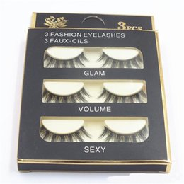 $enCountryForm.capitalKeyWord NZ - HOT Natural Handmade Black False Eyelashes Fashion Makeup Fake Eyelashes Cross Messy Soft 3D Eye Lashes 3pairs set DHL shipping in stock