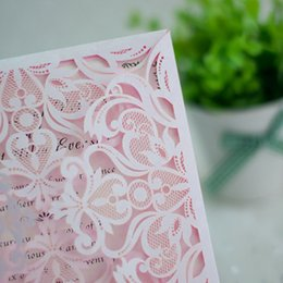 10 Set Flower Customize Pink Lace Invitations Cards For Wedding Blank Print Invitation Card Birthday Party Paper