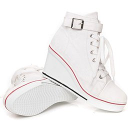 Discount platform closed wedges - New Women Vulcanize Shoes Platform Breathable Canvas Shoes Woman Wedge Sneakers Casual Fashion Candy Color Students