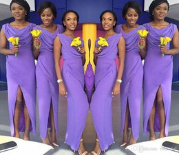$enCountryForm.capitalKeyWord NZ - Light Purple Side Split Bridesmaid Dresses 2017 New Ruffle Scoop Neck Draped Ankle Length Wedding Dresses formal Custom Made Plus Size