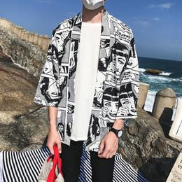 Open Clothes Canada - Open Stitch Kimono Jacket Men 2018 Summer Full Print Men's Jacket Three Quarter Sleeve Thin Style Mens Clothing