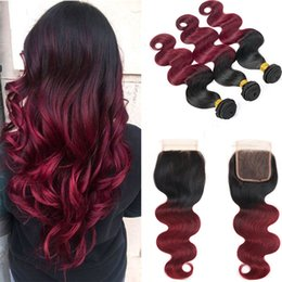 2018 new roots hair extensions New Arrival Dark Root 1B Red Ombre Hair Bundles With Lace Closure Free Part Indian 1B99J Hair Extension Burgundy Bundles With Closure 4Pcs new roots hair extensions on sale