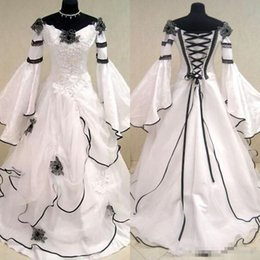 ruched wedding dresses fit flare Australia - Renaissance Vintage Black and White Medieval Wedding Dresses Vestido De Novia Celtic Bridal Gowns with Fit and Flare Sleeves Flowers