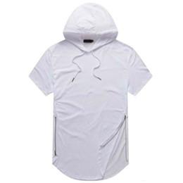 $enCountryForm.capitalKeyWord Canada - Justin Bieber Clothes Mens Longline Curve Hem T Shirts For Men Shirt Hooded Mens Hipster Hip Hop Side Zip Short Sleeve T Shirt