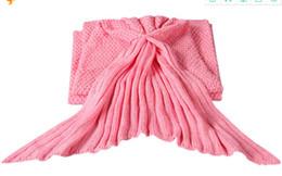 China Mermaid Tail Blanket Yarn Knitted Handmade Crochet Mermaid Blanket Kids Throw Bed Wrap Super Soft Sleeping Bed suppliers