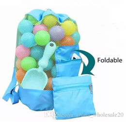 wood day beds 2019 - Free Shipping Children Toys Storage Bag Foldable Travel Beach Bag Solid Color Kids Mesh Backpack Children's Day Gif