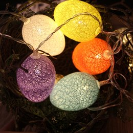Wholesale LED String Lights Outdoor Multicolor Cotton Thread Round Ball Coloregg Lamp Strings Christmas Easter Trees Garden Party Decoration wc Y