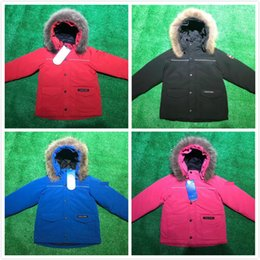 jacket hat baby 2018 - 2018 NEW CANADA Brand Winter Down Coat Child Down Jacket Down Jackets Baby Boy girl Kids Thicken Fur Hooded Parkas Windp