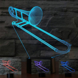 bedding 3d effect Australia - Abstractive 3D Optical Illusion Saxphone Trombon Colorful Lighting Effect Touch Switch USB Powered LED Decoration Night Light Desk Lamp