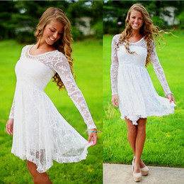 Wholesale Short Simple Modest Lace Country Wedding Dresses With Sleeve Crystal Neckline Vintage Boho Bridal Gowns Cheap Simple Outdoor Bohemian Summer