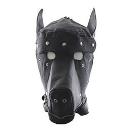 Discount sex slave dog collars - Fetish PU Leather SM Hood Dog Mask Head Harness Sex Slave Collar Leash Mouth Gag BDSM Bondage Blindfold Sex Toys for Cou
