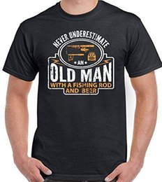 Rod cotton online shopping - Never Underestimate An Old Man With A Fishing Rod And Beer Mens Funny T Shirt