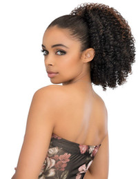 Chinese  Short high kinky curly two tone highlight 1b 30 ombre drawstring ponytail afro hairstyle puff 120g or 140g 14inch manufacturers