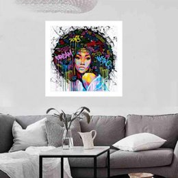 Girls Figure Size Australia - Modern Abstract Handpainted Oil Painting African Girl Portrait on Canvas Wall Decor Multi Sizes Framed Free Shipping p185