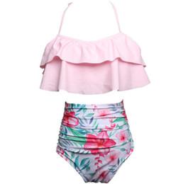 86ac0cacb2e 2018 Mujeres Bikini de impresión de cintura alta traje de baño Bikinis Sexy mujeres  traje de baño de la vendimia Bandeau bandeau rayas fondo Bikini conjunto ...