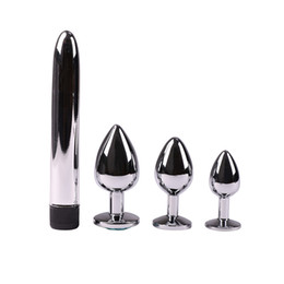 Men Sex Toy Gay NZ - Stainless Steel Anal Butt Plug Vibrator Set Metal Anal Sex Toys for Men Gay Dildo Crystal Beads Erotic Toys Anal Women Y18102605