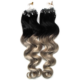 $enCountryForm.capitalKeyWord UK - Body Wave Ombre Color Micro Ring Hair Extensions 1g strand 200g Micro Loop Hair Extensions Human Micro Link Human Hair Extensions