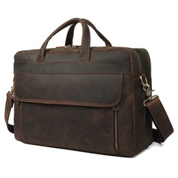 $enCountryForm.capitalKeyWord UK - Men Crazy Horse Leather Antique Design Business Briefcase Laptop Document Case Fashion Attache Messenger Bag Tote Portfolio
