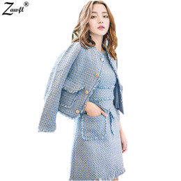95bbfc071e High Quality Women 2 Piece Set Dress 2018 Autumn Winter Tweed Jacket Short  Coat + Sleeveless Tassels Pocket Bodycon Skirt Set