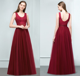 bridesmaid real picture NZ - Real Pictures 2018 Cheap Burgundy Long Bridesmaid Dresses Scoop Tulle Floor Length Women Cheap Formal Prom Party Gowns CPS809