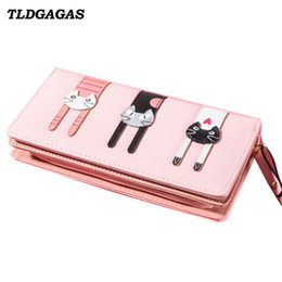 Discount cat mobiles - TLDGAGAS New Fashion Long Women Wallet With Three Cat Pattern Clutch Bag Ladies Coin Purse Card Handbag Female Mobile Ph