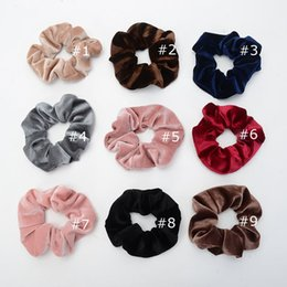 Chinese  9 Color Women Girls Solid color Sweet Velvet Xmas Red Elastic Ring Hair Ties Accessories Ponytail Holder Hairbands Rubber Band Scrunchies manufacturers