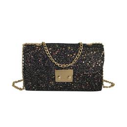 Discount luxury chain crossbody handbag - Fashion Sequins Women Shoulder bags luxury handbags women bags designer Leather Chains Panelled Hasp Crossbody for