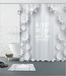 white bathroom curtains Australia - White Christmas snowflakes pattern 3D Print Custom Waterproof Bathroom Modern Shower Curtain Polyester Fabric Bathroom Curtain Door mat sets