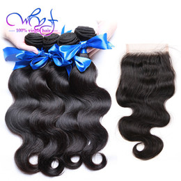 $enCountryForm.capitalKeyWord NZ - WYF Brazilian Bundles With Closure Brazilian Body Wave Human Hair Weaves Extensions 4 PCS Brazilian Virgin Human Hair Bundles Natural Color