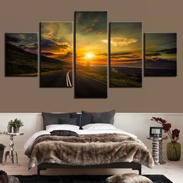 Pictures Sunsets Scenery NZ - Wall Art Framework 5 Pieces Highway Sunset Scenery Poster Modular Home Decor Living Room Pictures Modern Canvas Printed Painting