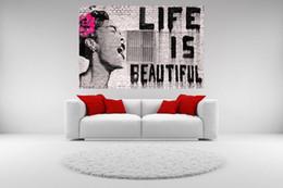 Life Size Figures Australia - High Quality Banksy Street Graffiti Life is Beautiful HD Print Canvas Wall Art Home Decor Prints,Multi Sizes Options Pr141!