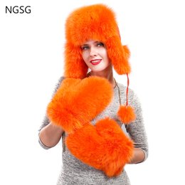 Discount genuine leather white gloves - NGSG Women Fox Fur Gloves Solid Red Fox Genuine Leather Lined Removable Chain Winter Russian School Student Girl Gloves