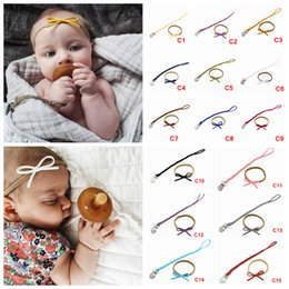 hair bow clip holder 2019 - 2pcs set Baby Pacifier Clip Chain Hair band set Toddler Infant Braided Leather Pacifier Holder Bow Headbands Baby Feedin