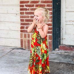 $enCountryForm.capitalKeyWord Canada - Fashion Girls Leaves Print Beach Dress Summer New Sleeveless Kids Long Bohemian Dress Kids Girls Maxi Dress Children Clothing