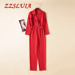 ca8a951e11 Casual Jumpsuits Designs Canada - 2017 new Solid color zipper design turn  down collar long sleeve