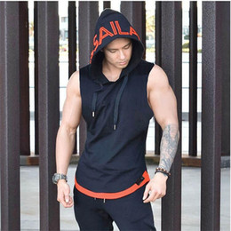 sexy gym clothes 2019 - Wholesale- Brand Bodybuilding Stringer Tank Tops Hoodies Sportwear Tanktops Fitness Men gyms Clothing sleeveless with ho