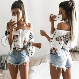 Off Shoulder Blouse Cotton Australia - 2019 Summer Beach Casual Print Floral Cotton Blouse Shirt Long Flare Sleeve Women Blouses White Backless Off Shoulder Shirts
