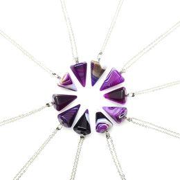 Necklaces Pendants Australia - New Stripe Agate Natural Stone Pendant Druzy Drusy Necklace Awl Purple Rose Blue Charms Necklace Jewelry