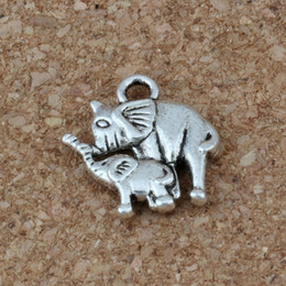 elephants baby 2019 - Elephant Mom And Baby Charms Pendants 100Pcs lot 14 x15mm Antique Silver Fashion Jewelry DIY Fit Bracelets Necklace Earr