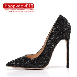 c2b37e4f3a0f Free shipping fashion women Pumps lady Black crystal strass Pointy toe high  heels shoes party shoes 12cm 10cm 8cm bride wedding shoes