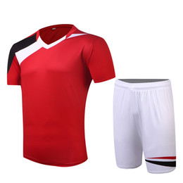 $enCountryForm.capitalKeyWord UK - 14 15 season Quality Red White Color DIY Blank Men Soccer Sets of jersey & shorts Male Breathable Outfit Pattern Football Kit Uniforms HO002