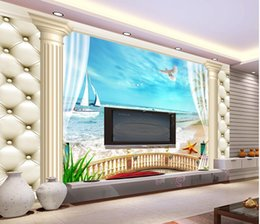 Discount scenic background paper - wall papers home decor designers DRoman pillared balcony with scenic TV background wall custom 3d photo wallpaper