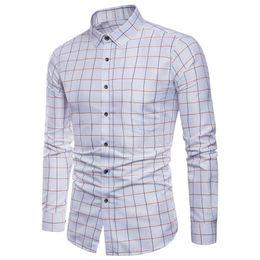 73fe54d9732 Mens Long Sleeve Oxford Formal Casual Plaid Slim Fit Tee Dress Shirts Blouse  Top Camisa Masculina Drop Shipping